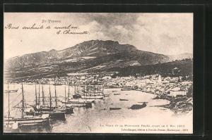 AK Saint-Pierre, Vulkanausbruch 8.5.1902, la Ville et la Montagne Pelée