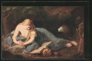 Künstler-AK Die büssende Magdalena, Sünderin und Totenschädel