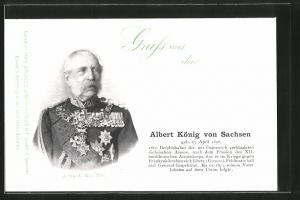 AK Albert König von Sachsen, Portrait in Uniform mit Orden