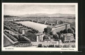 AK Saarburg, Infanterie-Kaserne mit n, Eisenbahn
