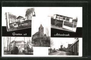 AK Abbenbroek, Strassenpartie mit Windmühle, Kirchblick & Parkpartie