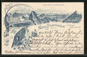 Lithographie Pilatus, Hotel Pilatuskulm, Bergbahn an der Eselwand, Blick gegen die Berner Alpen