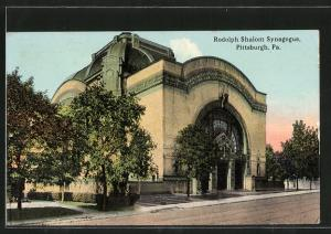 AK Pittsburgh, PA, Rodolph Shalom Synagogue, vor der Synagoge