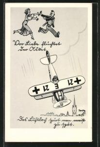 Künstler-AK Ferdinand Barlog: Vor Liebe flüchtet der Asket..., Fliegerhumor,
