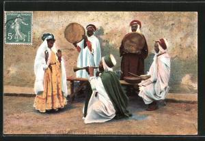 AK Arabische Musiker mit Flöte und Trommeln, Tänzerin