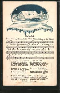 Lied-AK Anton Günther Nr. 22: Hutzenlied, Anton Günthers Elternhaus im Winter