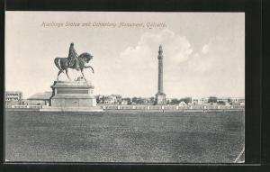 AK Calcutta, Hardinge Statue and Ochterlony Monument