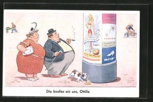 AK Die koofen wir uns, Ottilie, Übergewichtiges Paar vor Plakat für Entfettungspillen an Littfasssäule