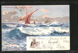 Künstler-AK Willy Stoewer: Reklame für Hauswaldt`s Kakao, Segelschiffe auf dem Mittelmeer