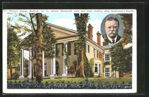AK Buffalo, NY, Wilcox House, where Roosevelt took the oath of office after McKinley`s death, Präsident der USA