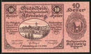 Notgeld Allentsteig in Nieder-Österreich 1920, 10 Heller, Ortsansicht, Stadtsiegel