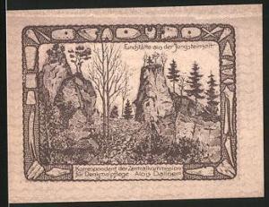 Notgeld Lausa bei Losenstein 1920, 20 Heller, Fundstätte aus der Jungsteinzeit