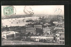 AK Calcutta, The River showing Jetties and Howrah Bridge