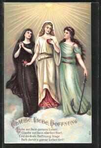 Präge-AK Glaube, Liebe, Hoffnung, Genien, Allegorie