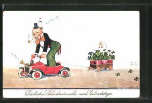 Künstler-AK John Wills: Glückwünsche zum Geburtstage, Clown in Auto