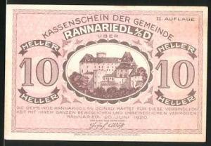 Notgeld Rannariedl an der Donau 1920, 10 Heller, Schlossmotiv