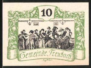 Notgeld Treubach 1920, 10 Heller, Bauern beim Volkstanz