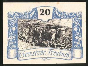 Notgeld Treubach 1920, 20 Heller, Bauer mit Rinderpflug