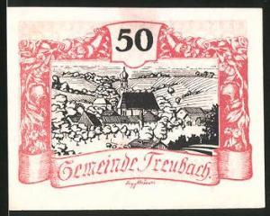 Notgeld Treubach 1920, 50 Heller, Ortsmotiv