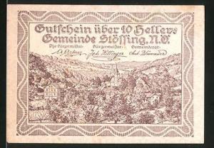 Notgeld Stössing in Nieder-Österreich 1920, 10 Heller, Ortsansicht