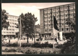 AK Chemnitz, Blick zum Bahnhofstrasse mit Hotel Moskau
