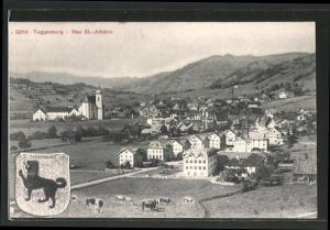 AK Neu St. Johann, Ortsansicht aus der Vogelschau