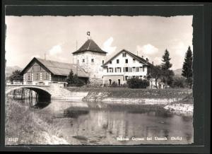 AK Uznach, Flusspartie am Schloss Grynau