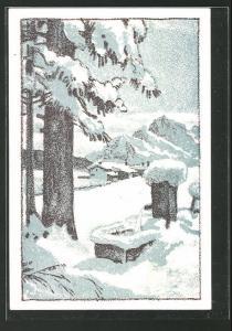 Künstler-AK Schaffhausen, Manufacturwaren an der Tanne im Winter