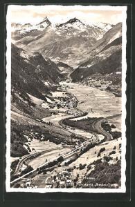 AK Ambri-Piotta, Panoramablick ins Tal mit Blick zum St. Gotthard