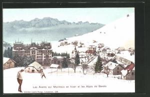 AK Les Avants, Vue de la Ville et les Alpes de Savoie