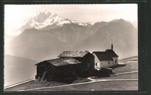 AK Riederalp, Berghütte, Kapelle & Blick zum Fletschhorn
