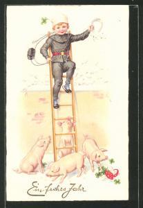 AK Kindlicher Schornsteinfeger wird auf der Leiter von Schweinen umzingelt