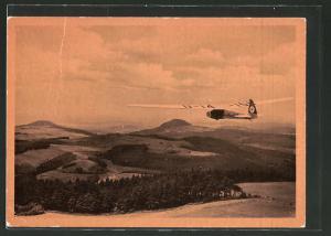 AK Segelflugzeug mit  am Steuerruder über der Wasserkuppe