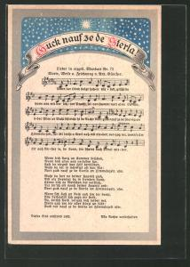 Lied-AK Anton Günther Nr. 72: Guck nauf ze de Sterla!, Noten und Text
