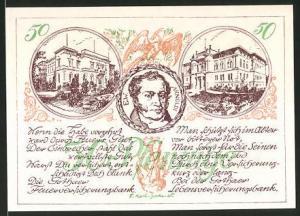 Notgeld Gotha 1921, 50 Pfennig, Arnoldi-Porträt und Schloss, Stadtwappen