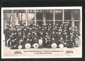 AK Musikvereinkapelle der Wiener Strassenbahner im 30. Bestandjahre, 1924