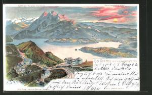 Künstler-AK C. Steinmann: Rigi-Staffel, Totalansicht mit Blick auf den Vierwaldstättersee