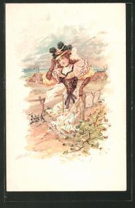 Lithographie Herbst, Bezaubernde Dame im Freien