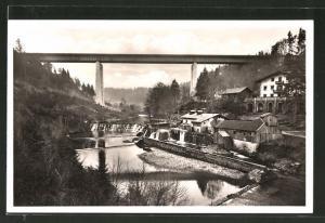 AK Mühltal, Gasthaus-Pension Bruckmühle und Mangfallbrücke der Reichsautobahn