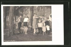 AK Kinder des Campingdorfes waschen sich am Morgen, Reichsarbeitsgemeinschaft der Kinderfreunde