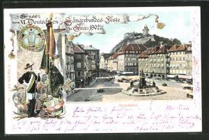 Lithographie Graz, VI. Deutsche Sängerbundesfest 1902, Blick auf den Hauptplatz