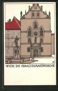 Künstler-AK Wiener Werkstätte Nr. 138, Urban Janke: Wien, Franziskanerkirche, Jugendstil