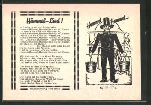 AK Hamburg, Hamburger Hummel mit den Wassereimern, Lied Hummel-Lied!