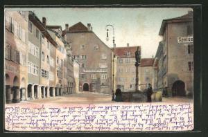 Lithographie Wil, Partie am Bierbrauerei Hof