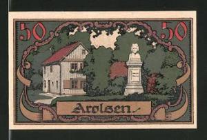 Notgeld Arolsen 1921, 50 Pfennig, Stadtwappen, Baum-Denkmal