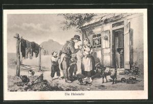 Künstler-AK Bergarbeiter kehrt von der Arbeit heim