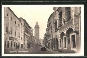 AK Enns, Blick in die Linzerstrasse mit Gasthof-Krone