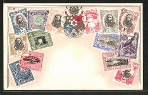AK Briefmarken von Tonga, Landes-Wappen