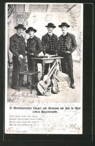 AK Braunau am Inn, Oberinnviertler Sänger in ihrer echten Bauerntracht mi Gitarre, Geige, Zither