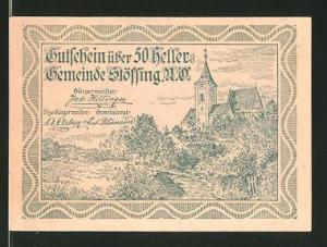 Notgeld Stössing in Nieder-Österreich 1920, 50 Heller, Kirche